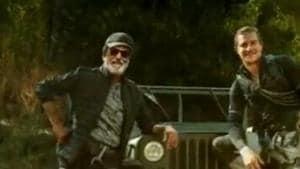 Bear Grylls and Rajinikanth in the Man vs Wild motion poster.