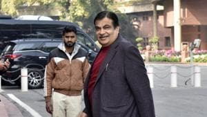 Transport Minister Nitin Gadkari arrive to attend the ongoing Budget Session at Parliament House in New Delhi on Tuesday.(Mohd Zakir/HT Photo)