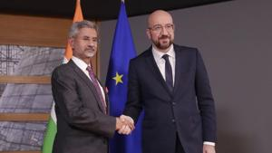 Brussels: Indian Foreign Minister Subrahmanyam Jaishankar, left, is welcomed by European Council President Charles Michel prior to a meeting at the Europa building in Brussels(AP)