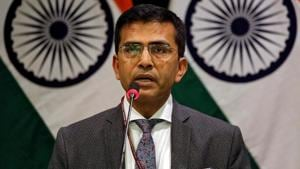 Raveesh Kumar, spokesman for Indian Foreign Ministry, speaks during a media briefing in New Delhi.(REUTERS)