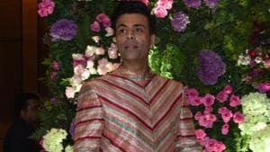Filmmaker Karan Johar at actor Armaan Jain's wedding reception in Mumbai.(IANS)