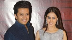Actors Riteish Deshmukh and Genelia D'Souza at the birthday party of poet-lyricist-screenwriter Javed Akhtar.(IANS)