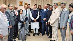 Prime Minister Narendra Modi along with CJI SA Bobde during a meeting with the foreign and Indian judges at the International Judicial Conference 2020 in New Delhi.(PTI Photo)