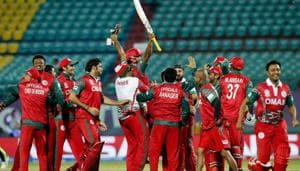 Oman's players celebrate after they won the ICC World Twenty20 2016 cricket tournament against Ireland at the Himachal Pradesh Cricket Association (HPCA) stadium in Dharmsala.(AP)