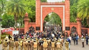 The petitioner said students had gathered at the Maulana Azad Library and marched up to AMU gate on December 15, 2019. After sometime, the police started firing teargas shells on the students and also cane charged them, in which around 100 students were injured, the petitioner alleged. (Image used for representation).(PTI PHOTO.)