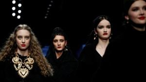 Models present creations from the Dolce & Gabbana Autumn/Winter 2020 collection during Milan Fashion Week in Milan, Italy February 23, 2020.(REUTERS)