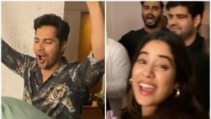Varun Dhawan-Natasha Dalal, Janhvi Kapoor say 'Zor se bolo Happy Birthday' as Shashank Khaitan cuts cakes. Watch