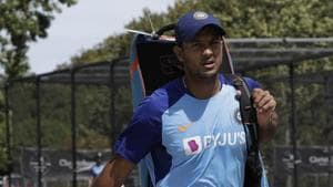 India's Mayank Agarwal walks from the nets following a practice session(AP)