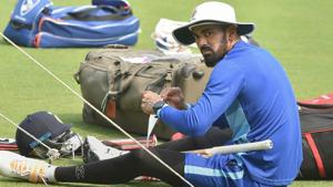KL Rahul during a training session.(PTI)