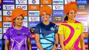 Velocity team captain Mithali Raj , Supernovas team captain Harmanpreet Kaur and Trailblazers team captain Smriti Mandhana during last edition of Women's T20 challenge(PTI)