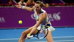 Czech Republic's Petra Kvitova in action during her semi final match against Australia's Ashleigh Barty.(REUTERS)