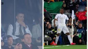Cristiano Ronaldo watches Real Madrid vs Barcelona at the Santiago Bernabeu.(Twitter)