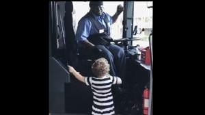 A bus driver dancing with a little girl on a bus to her favourite track may even prompt you to dance.(Twitter)