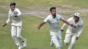 Kolkata: Bengal bowler Ishan Porel celebrates with his teammates after the dismissal of Karnataka opener KL Rahul (unseen) during the 3rd day of Ranji Trophy semi-final match, at Eden Gardens in Kolkata, Monday, March 2, 2020.(PTI)