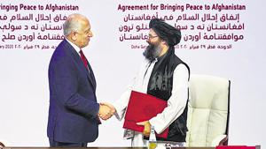 Perhaps not in their wildest dreams had the American leadership over the past two decades expected this photo-op, where US Special Representative for Afghanistan, ambassador Zalmay Khalilzad, sat at the same table, in front of the world, and shook hands with the Taliban, agreeing to a gradual withdrawal of US troops and their allies.(REUTERS)