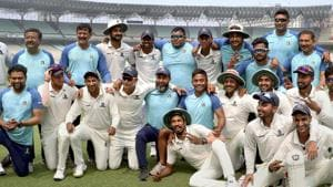 Kolkata: Bengal cricket team players pose for a group photograph after sealing a place in Ranji Trophy final.(PTI)