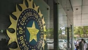 MUMBAI, INDIA – JULY 19: A view of logo of the Board of Control for Cricket in India (BCCI) during a Council meeting of the Indian Premier League (IPL) at BCCI headquarters on July 19, 2015 in Mumbai, India. (Photo by Aniruddha Chowhdury/Mint via Getty Images)(Hindustan Times via Getty Images)