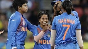 India's Poonam Yadav, center, is congratulated by teammates(AP)