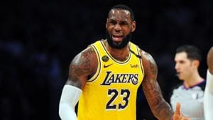 Los Angeles Lakers forward LeBron James (23) reacts against the Milwaukee Bucks during the second half at Staples Center.(USA TODAY Sports)