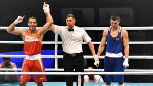 Vikas Krishan (69kg) after his victory against Ablaikhan Zhussupov of Kazakhstan.(PTI)