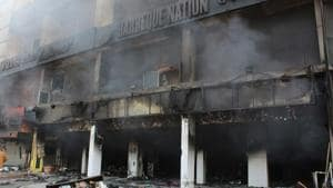 The fire that engulfed the SCO in Mohali's Phase 5 on February 29 prompted a high level inquiry by Mohali administration.(Gurminder Singh/HT)