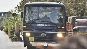 44 Indian citizens evacuated from Iran were taken by the Indian Navy to a quarantine camp in Ghatkopar, Mumbai on Friday.(SATYABRATA TRIPATHY/HT PHOTO.)
