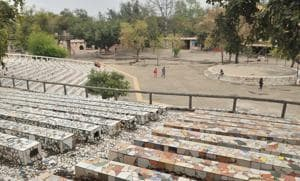 Rock Garden wearing a deserted look on Saturday. Only 3,000 tickets were sold during the day, down from 12,000 daily.At Sukhna Lake, too, just 170 people went for boating, down from 500.(HT PHOTO)