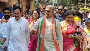 BJP state unit president Dilip Ghosh leads a rally in Kolkata on Sunday.(HT Photo)