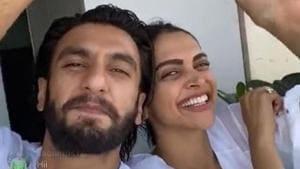 DEepika Padukone and Ranveer Singh in their balcony.