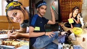 TV industry in lockdown, Shantanu Maheshwari teaches art of mopping, Hina Khan makes a sketch. See pics