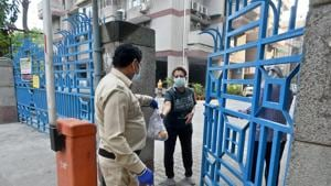 Residents of the Vardhaman Apartments containment zone have good delivered to the society gates, on day seventeen of the 21 day nationwide lockdown to limit the coronavirus in Mayur Vihar(Sushil Kumar/HT PHOTO)
