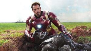 Robert Downey Jr as Iron Man and Don Cheadle as War Machine in a still from Captain America: Civil War.