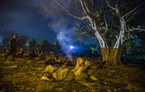 Migrant workers sleeping in an open ground in New Delhi on April 09, 2020.(Yawar Nazir/Getty Images)