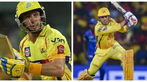 MS Dhoni and Mike Hussey.(PTI)