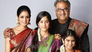 The late Sridevi poses with her family.