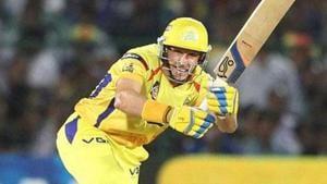 Chennai Super Kings batsman Michael Hussey plays a shot against Rajasthan Royals during their T20 League match in Jaipur.(PTI)