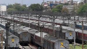 Train coaches seen at a parking bay during the lockdown, at New Delhi Railway Station, Saturday, April 18, 2020.(Mohd Zakir/HT PHOTO)