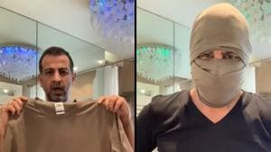 Ronit Roy's DIY mask video has collected over 70,000 likes - and counting.(Twitter/@RonitBoseRoy)