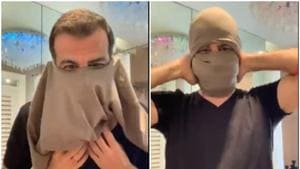 Ronit Roy fashioned a face mask out of a T-shirt.