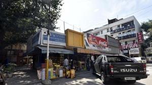 A grocery store in C Block market of Vasant Vihar.(Sanjeev Verma/HT PHOTO)