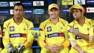 Former Chennai Super Kings captain MS Dhoni with Michael Hussey.(IPL)