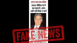"""The headline of the article, when translated from Hindi, reads """"Ratan Tata's message: 2020 is the year of survival, don't worry about profit and loss"""".(Twitter/@RNTata2000)"""