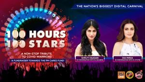 """<p>""""Donate towards #PMCARES fund by clicking on the link: https://m.p-y.tm/FFM-PMCARES</p><p>Let's turn this night into a glamorous one with our two divas Shruti Haasan and Dia Mirza with our RJs Sulabha and Stutee.</p><p>Disclaimer:</p><p>Fever FM, Radio Nasha & Radio One do not take any responsibility for the successful operation, uptime, and consummation of the payment process, which is being run by Paytm and linked directly to the PM Cares Fund collection window/portal. The role of Fever FM, Radio Nasha & Radio One is to encourage donations</p><p>#100Hours100Stars""""</p>"""