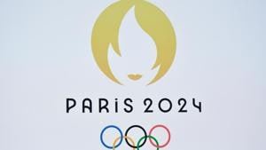 This picture taken on October 21, 2019 shows a logo during a logo presentation ceremony for Paris 2024 Olympic Games.(AFP)