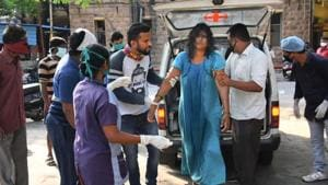 Visakhapatnam: An affected woman being taken for treatment at King George Hospital after a major chemical gas leakage at LG Polymers industry in RR Venkatapuram village on May 7, 2020.(PTI)