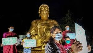 Bhopal: Devotees wearing masks offer prayers on the eve of Buddha Purnima, during the ongoing nationwide COVID-19 lockdown, in Bhopal, Wednesday, May 6, 2020.(PTI)