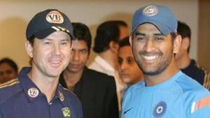 File photo of Ricky Ponting and MS Dhoni. (Photo by Kunal Patil/Hindustan Times via Getty Images)(Hindustan Times via Getty Images)
