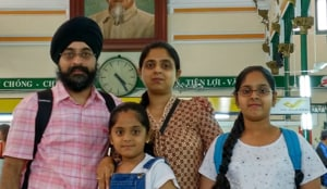 The Arora family during an earlier holiday in Ho Chi Minh City in Vietnam on a holiday.(HT Photo)