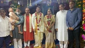 Dil Raju and Tejaswini during the wedding ceremony.