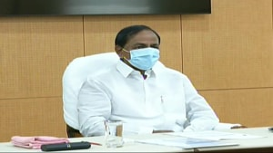 Telangana Chief Minister K Chandrashekhar Rao at Prime Minister Narendra Modi's video conference with chief ministers on Monday.(ANI)
